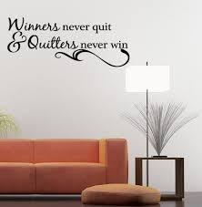 amazon com winners never quit vinyl wall quote decal sports