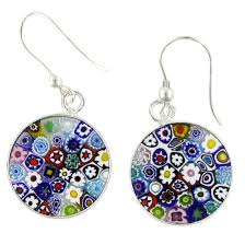 dangling earrings murano earrings millefiori murano dangle earrings silver