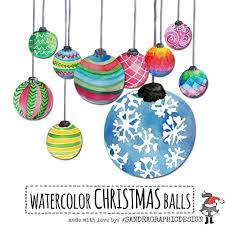 clip ornaments painted watercolor
