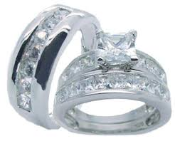 his and hers wedding his hers sterling silver princess cut cz wedding ring set edwin
