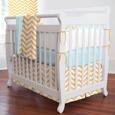 Cheap Mini Crib Light Orange And Aqua Chevron Mini Crib Bedding Carouseldesigns