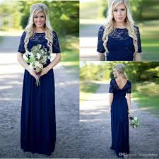 navy blue country style bridesmaid dresses long 2018 short sleeve