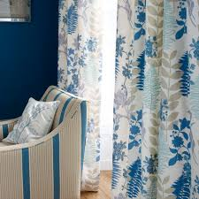 Blue And White Floral Curtains Curtain Fabric Floral Pattern Polyester Linen Caprice