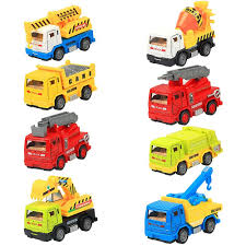 8 pieces construction vehicles metal pull back and go trucks model