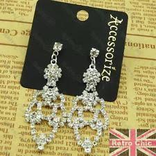 Sparkly Chandelier Earrings Silver Plated Chandelier Costume Earrings Ebay