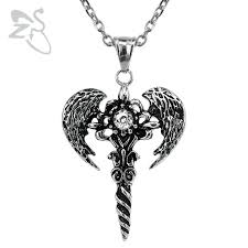 vintage necklace pendants images Punk vintage necklaces pendants cross wings chains sword crystal jpg