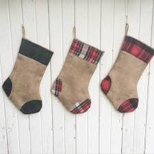 plaid flannel u0026 burlap christmas stocking 3 plaid designs