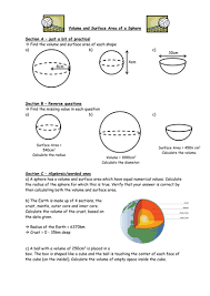 volume and surface area of a sphere by owen134866 teaching