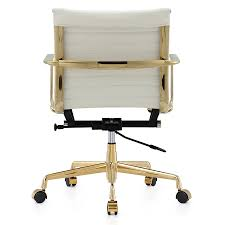 Leather Desk Chair by Marquis Gold White Leather Modern Office Chair Eurway