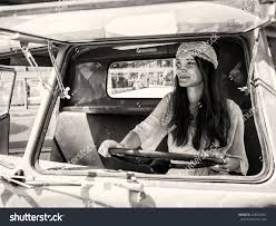 old cars black and white pretty young hippie woman driving her stock photo 428532601