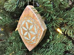 wood inlay ornament with german glass glitter the duckling