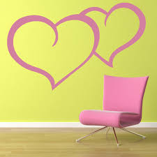 Heart Wall Stickers For Bedrooms Double Heart Wall Sticker Love Heart Wall Art
