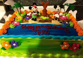 Luau Cake Decorations Mickey U0026 Minnie Luau Cake Yelp
