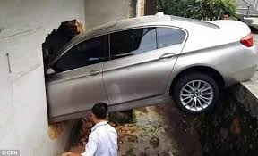 bmw hospital bmw stuck in a wall after mistook throttle for brake