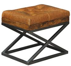 leather cushion bench stool iron ottoman handmade x base new free