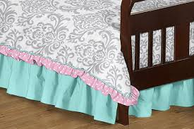 Toddler Comforter Pink Gray And Turquoise Skylar Toddler Bedding 5pc Girls Set By