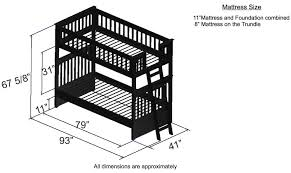 Discovery World Furniture Twin Over Twin Espresso Bunk Beds KFS - Twin bunk bed dimensions