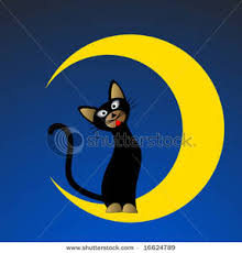 black cat sitting on a yellow crescent moon clipart image