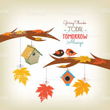 Thanksgiving Bird Happy Thanksgiving Birds And Maple Leaves Stock Vector More