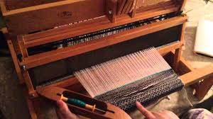 weaving on my schacht spindle table top loom youtube