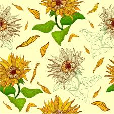 sunflowers background repeating multicolored icons sketch free