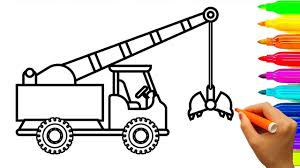 how to draw crane truck coloring pages for kids learn colors with