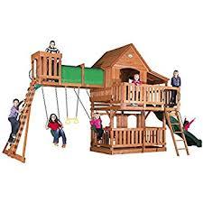 Wooden Backyard Playsets Amazon Com Backyard Discovery Skyfort Ii All Cedar Wood Swing Set