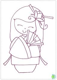 kokeshi doll coloring pages coloring cookie japanese