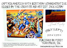 captain america color 50th birthday commemorative signed by the