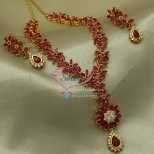 ruby necklace earrings images Exclusive gold plated star ruby necklace earrings fashion jpg