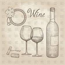 wine glass bottle grape sketch vector clipart image 172690