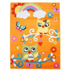 teppich kinderzimmer kinder teppich mit eulen moda kids 2773 orange flachflor