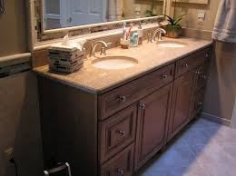 Bathroom Double Sink Cabinets by Vintage Brown Wooden Cabinet With Double Granite Sink Placement