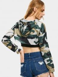 army pattern crop top cut out camouflage crop hoodie army green camouflage sweatshirts xl