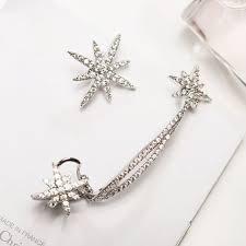 clip on stud earrings women snowflake rhinestone clip ear cuff wrap stud