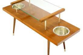mid century modern walnut and glass top console table with