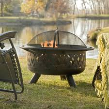 36 inch bronze fire pit with grill grate spark screen cover and