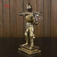 retro bronze held antique armor model decorative