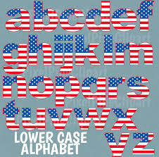 usa flag alphabet clipart upper and lower case american flag