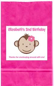 personalized goodie bags mod monkey girl birthday party girl personalized goodie loot bag