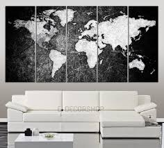 Black And White World Map Vintage World Maps U2013 Extra Large Wall Art Canvas Print