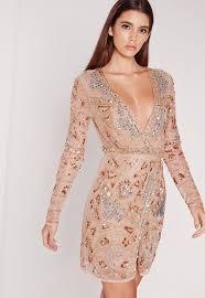 embellished dress premium sleeve sequin embellished wrap mini dress gold