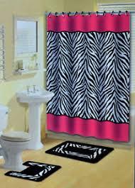 pink zebra stripes animal print 15 pcs shower curtain w hooks