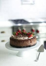 strawberry rhubarb u0026 olive oil chocolate cake w chocolate whip
