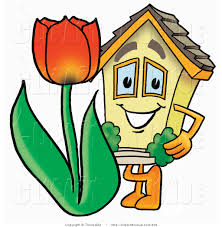 avenue clipart of a yellow home mascot cartoon character with a