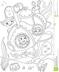 children exploring the underwater world in a submarine coloring