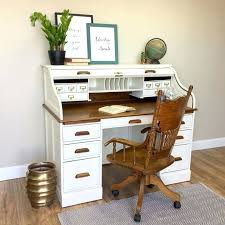 Roll Top Antique Desk Desk White Vintage Desk Lamp Antique White Desk With Drawers