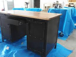 Metal Desk Vintage Handmade Industrial Steel U0026 Walnut Desk Office Furniture