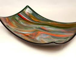 multicolored large oblong glass bowl unique decorative