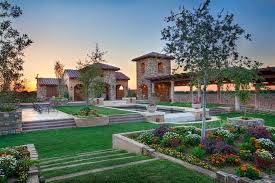 Tiered Backyard Landscaping Ideas Large Landscaping Ideas Landscape Mediterranean With Stone